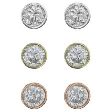 studs earrings bezel set studs earrings sterling 3pk silver gold target