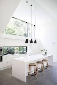 nordic kitchen design cylynder chrome pendant grey kitchen island