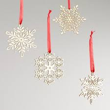 wood laser cut snowflake ornaments set of 12 world market