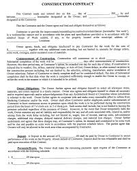 sample construction contract template form