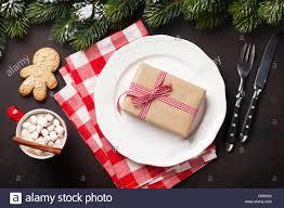 dinner plate silverware fir tree gift box stock