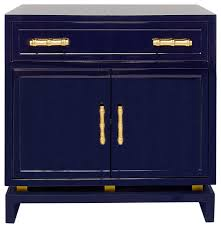 tracey hollywood regency navy blue lacquer nightstand cabinet