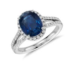 saphire rings oval sapphire and diamond halo split shank ring in 18k white gold