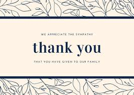 sympathy thank you cards and navy blue foliage border sympathy thank you card
