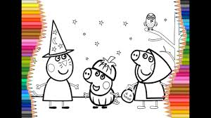 peppa pig halloween coloring pages for kids youtube