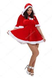 woman dressed in a mrs claus costume stock photo