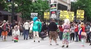 drag stands up to anti lgbt protesters disrupting seattle pride