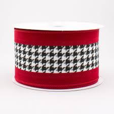 white velvet ribbon 2 5 large houndstooth velvet ribbon white black crimson 10