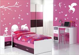 pink bedroom design ideas for with artsy unicorn and trees
