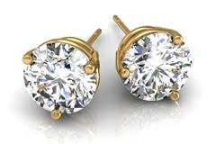 gold diamond stud earrings diamond studs diamond stud earring in gold and platinum