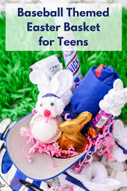 Gift Baskets For Teens Baseball Themed Easter Basket And Diy Washcloth Bunny An Alli Event