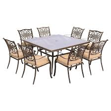 Metal Outdoor Dining Chairs Traditions 9pc Square Metal Patio Dining Set Tan Hanover Target