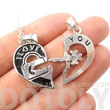 key shaped necklace images 2 piece heart shaped lock and key quot i love you quot necklace in silver jpg