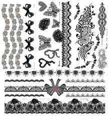 4pcs lot black henna lace tattoo stickers flower henna black lace