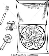 eps vectors of pizza box sauce cups fork and cutter sketch