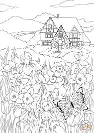 spring flowers butterfly and country house coloring page free