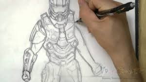 how to draw master chief halo 4 youtube