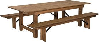Folding Table And Bench Set Hercules Series 8 U0027 X 40 U0027 U0027 Antique Rustic Folding Farm Table And