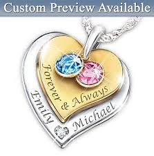 Personalized Heart Necklace Forever U0026 Always Personalized Heart Shaped Birthstone Necklace