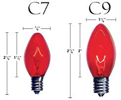 size comparison of c7 and c9 light bulbs this will help
