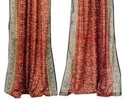 Sari Curtain Orange Rust Fuchsia Pink Sari Curtain Window Curtains Warm