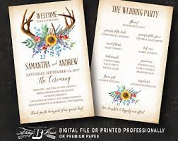 fall wedding programs deer wedding program etsy