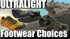 ultralight backpacking footwear trail runners sandals vibram