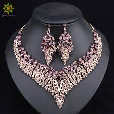 big crystal statement necklace images Leaf african bridal jewelry sets for women big crystal statement jpg