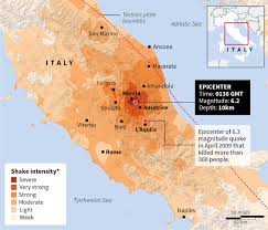 Italy Earthquake Map Devastation In Italy