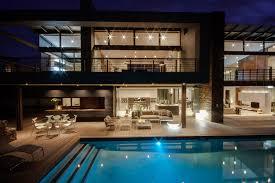 Houses With Big Windows Decor Charming White Blue Wood Glass Modern Design Pool House Inside