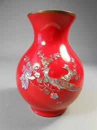 Red Lacquer Vase Jarrones Para La Mesa Del Espejo Collection On Ebay