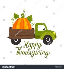 vector thanksgiving background truck car big stock vector
