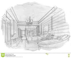 sketch interior perspective bedroom black and white interior