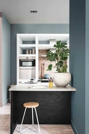 cuisine gris et bleu peinture cuisine tendance 2018