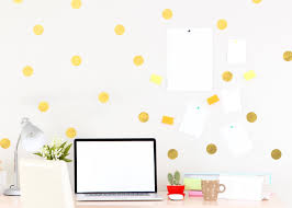 minimalist office room decor with gold polka dot office wall decal