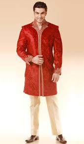 red velvet designer wedding indo western suit