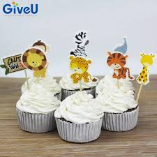 safari cake toppers giveu 48pcs safari jungle animal paper cupcake toppers picks cake