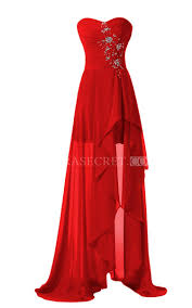 high low chiffon dress with sweep train and split front amora secret