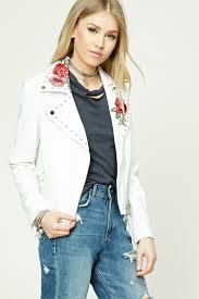 leather moto jacket floral faux leather moto jacket forever 21 2000208668