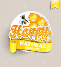 honeycomb ribbon sticker with honey honeycomb bee and ribbon for your text