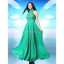 buy green wedding gown high collar sleeveless shopping on online