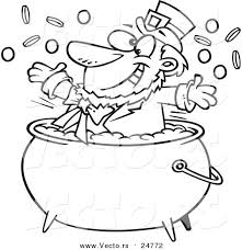 rainbow pot of gold coloring pages vector of a cartoon black and white outline st patricks leprechaun