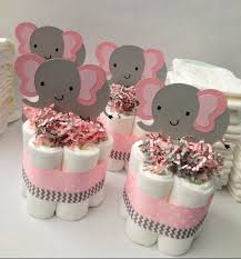 four pink grey elephant mini diaper cakes baby shower centerpiece