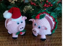 christmas ornament covers holiday pigs crochet thread patterns pdf