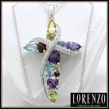 colored cross necklace images Solid 925 sterling silver genuine multi color stones designer jpg