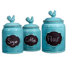 vintage aqua rooster chalkboard canister set of 3 at home at