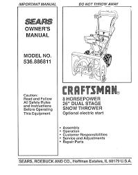 craftsman 536 886811 26 inch snow blower owners manual