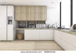 scandinavian kitchen 3d rendering scandinavian kitchen white wood stock illustration