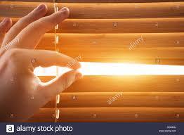 looking through window blinds sun light coming inside stock photo