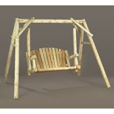 Porch Swing With Stand Rustic Natural Cedar Furniture American Garden 5 Ft Log Porch